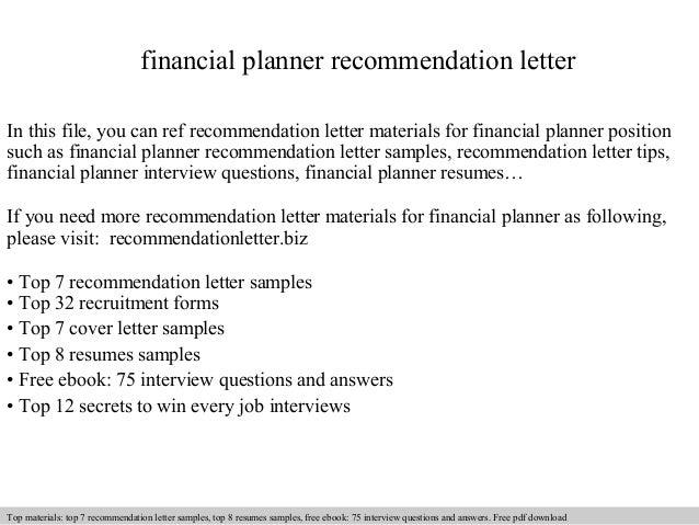Financial planner recommendation letter