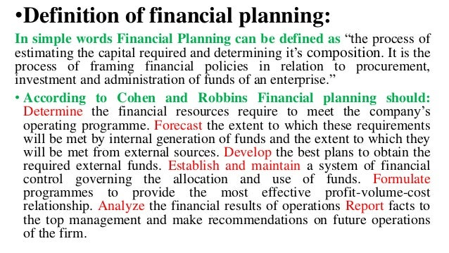 definition of planning in management pdf