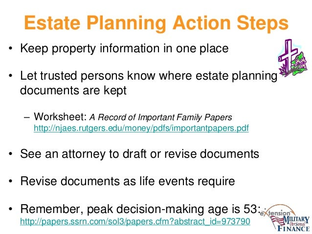 Financial Planning for the Second Half of Life – Estate Planning Worksheet