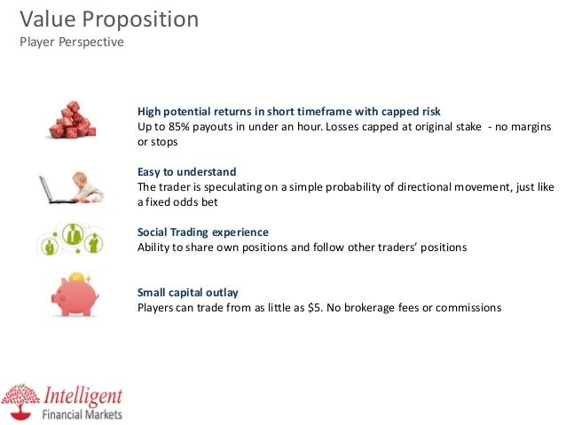 Value Proposition Player Perspective  High potential returns in short timeframe with capped risk Up to 85% payouts in unde...