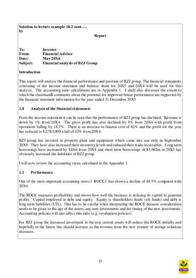 Doc.#728943: Company Financial Analysis Report Sample ...