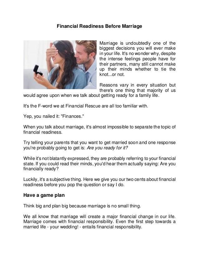 Feelings before getting married