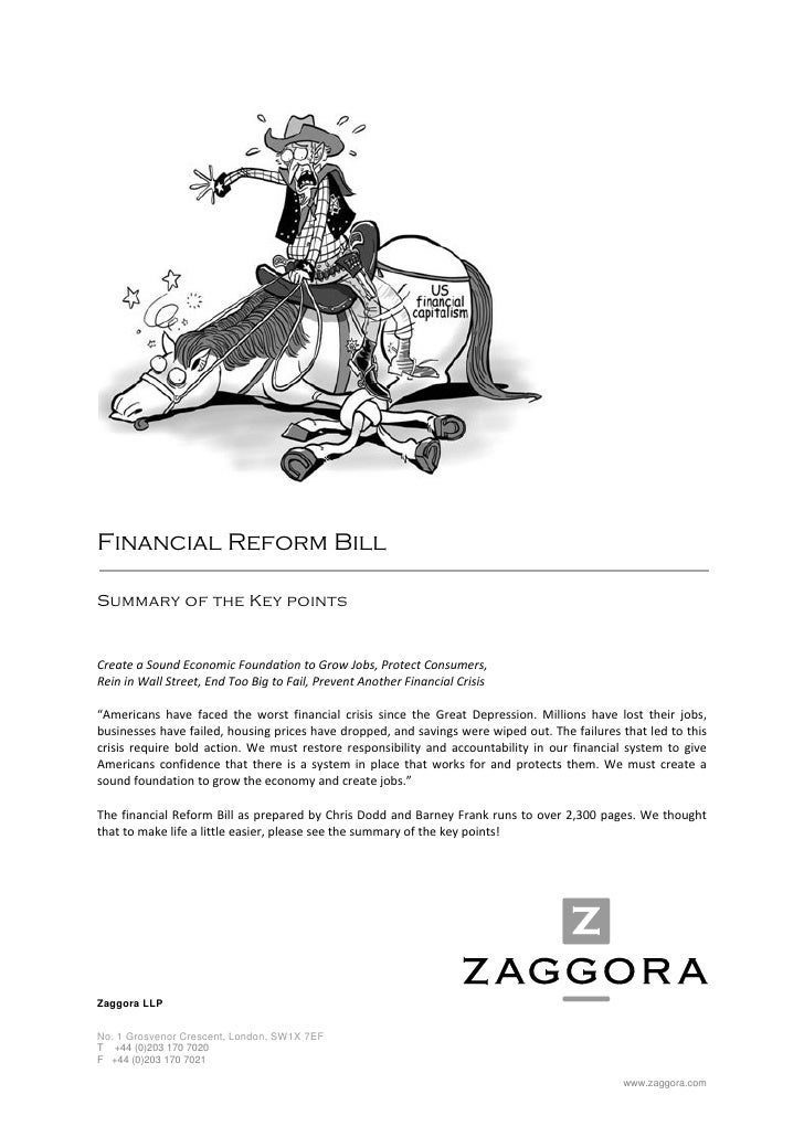 Financial Reform Bill  Summary of the Key points   C...
