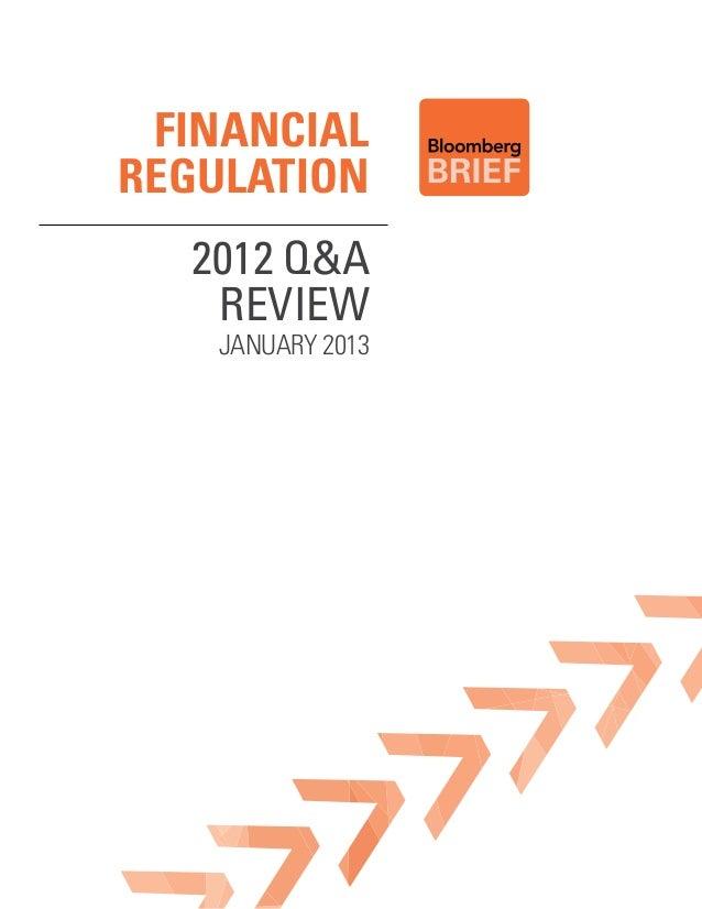 FinancialRegulation  2012 Q&A   Review    January 2013