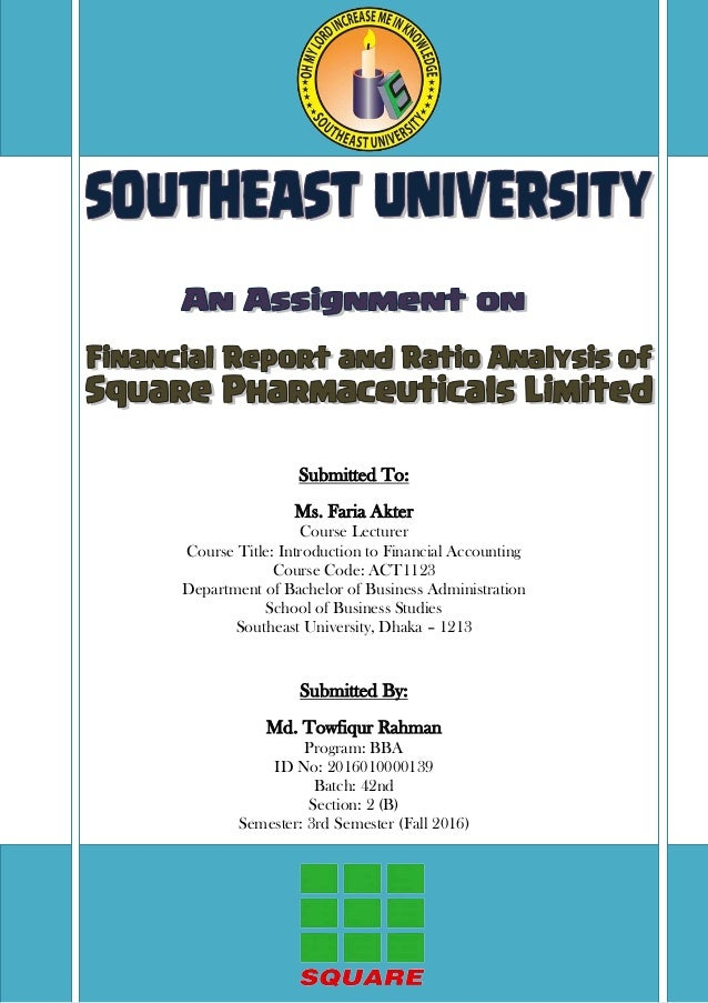 ratio analysis report of square pharmaceuticals limited bangladesh