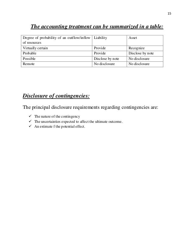 Reporting Contingencies and the Financial Statement Essay