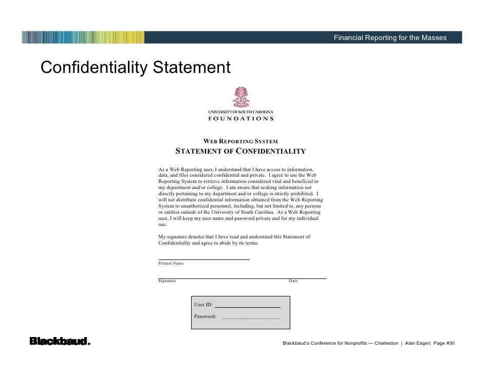 statement of confidentiality report