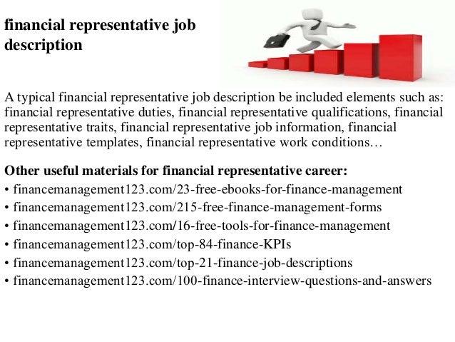Financial representative job description
