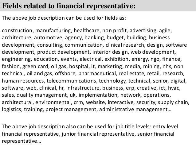 8 fields related to financial representative