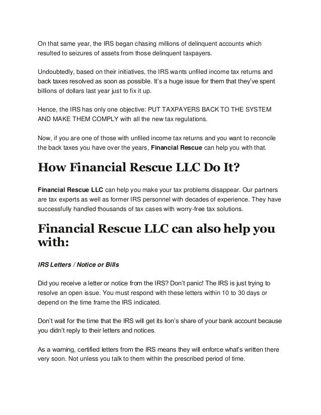 Financial Rescue fers Solutions to your IRS Problems