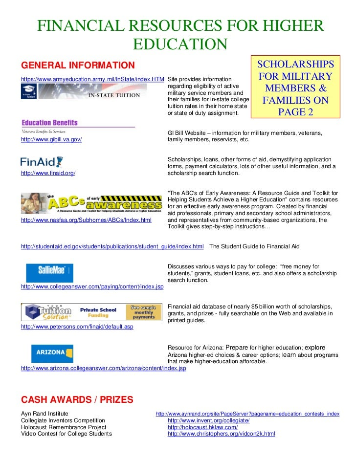 FINANCIAL RESOURCES FOR HIGHER                EDUCATIONGENERAL INFORMATION                                                ...