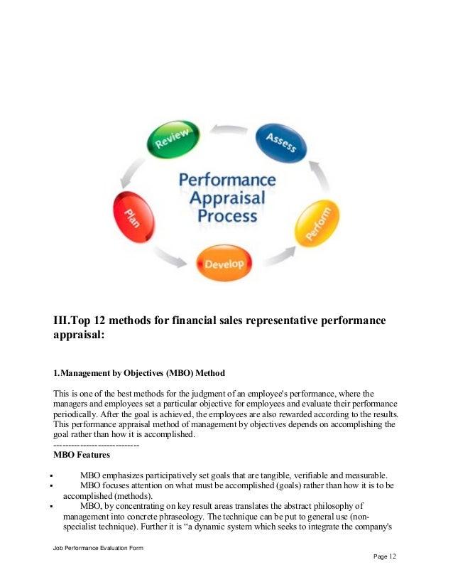 Financial sales representative performance appraisal