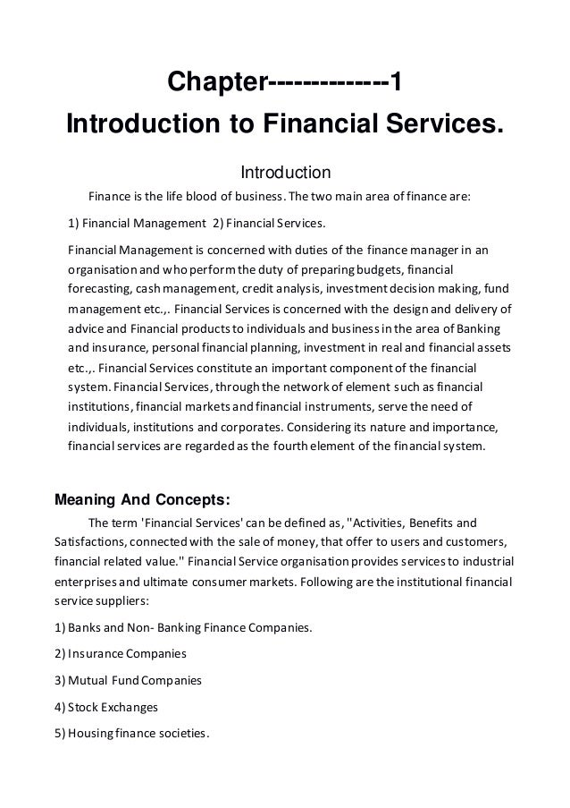 Financial Services Introduction
