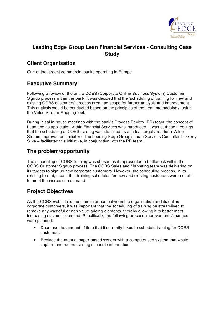 lean case study We've added a new case studies section to the resources section of the website  the first included report was published by the agency for.