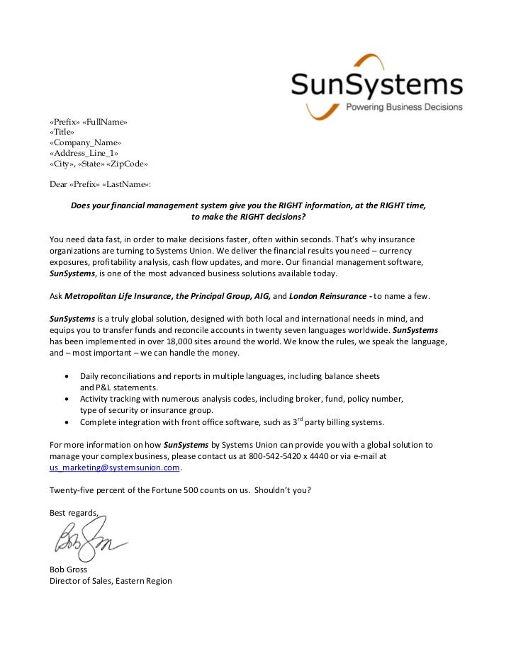 Financial Services Sales Letter