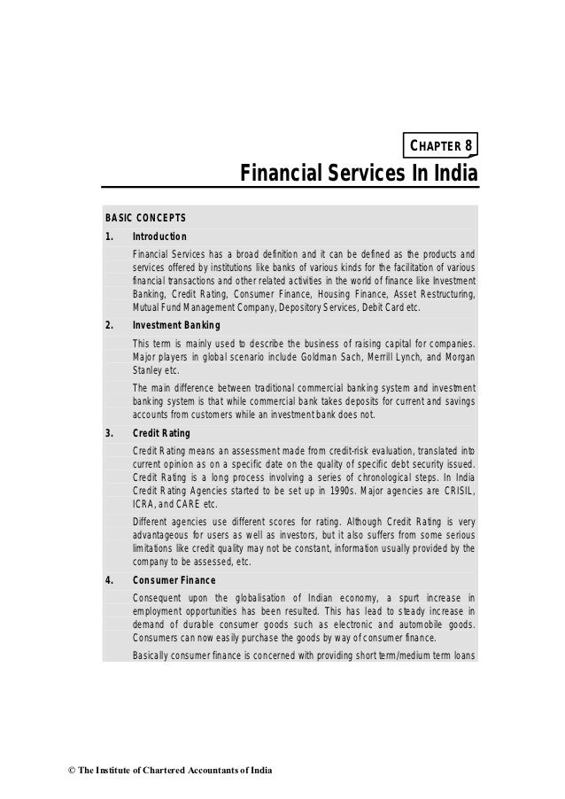 CHAPTER 8                                           Financial Services In India        BASIC CONCEPTS        1.     Introd...