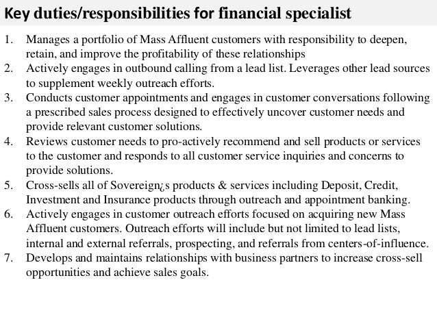 financial specialist job description