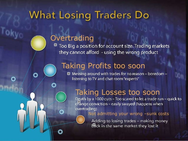 Overtrading  Taking Profits too soon      Taking Losses too soon            )         Not admitting your wrong –sunk costs