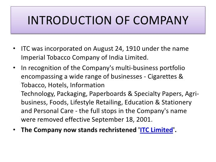 finance of itc essay The company employs over 31,000 people at more than 60 locations across india and has a diversified presence in fmcg (cigarettes, food, retail, personal care, education and stationary), hotels, paperboards & specialty papers, packaging, agri-business, and information technology.