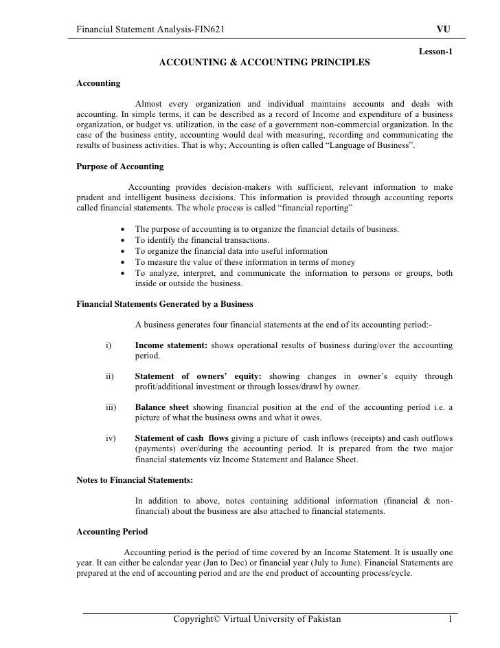 sample financial reporting
