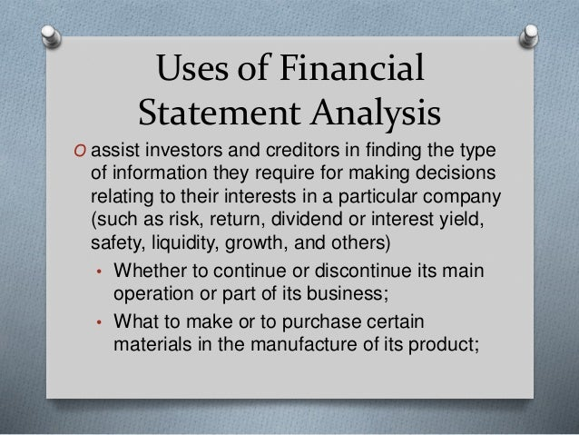 ... 4. Uses Of Financial Statement Analysis ...