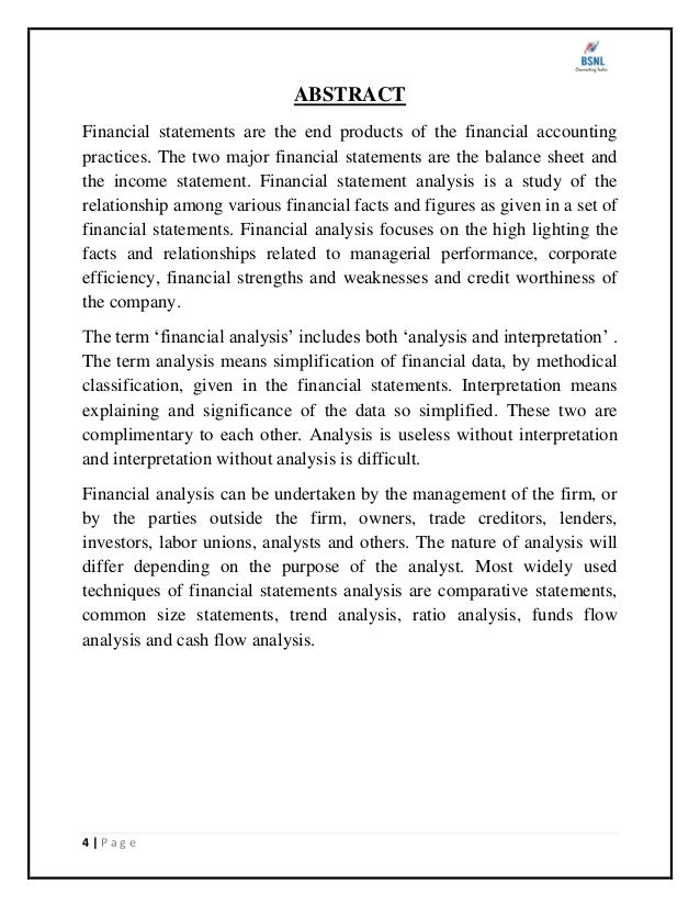 """project report on financial statement analysis of bsnl A summer training project report on """"comparative statement analysis  comparative statement analysis comparative statement analysis comparative."""