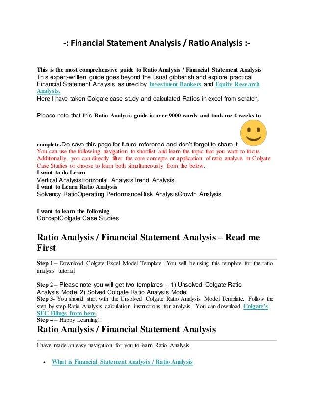 financial ratios analysis template