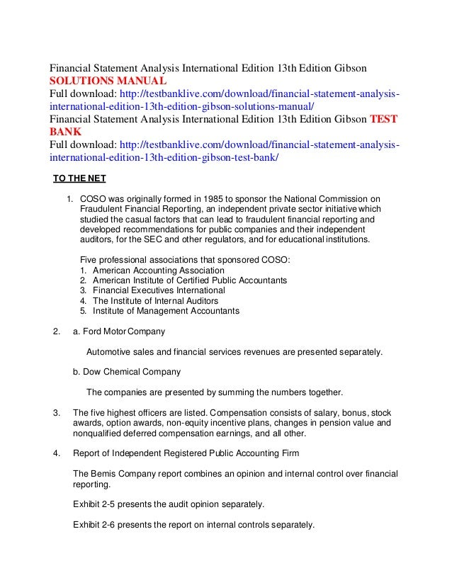 financial statement analysis international edition 13th edition gibso rh slideshare net financial statement analysis charles h gibson 12th edition manual financial statement analysis charles h gibson 7th edition solution manual
