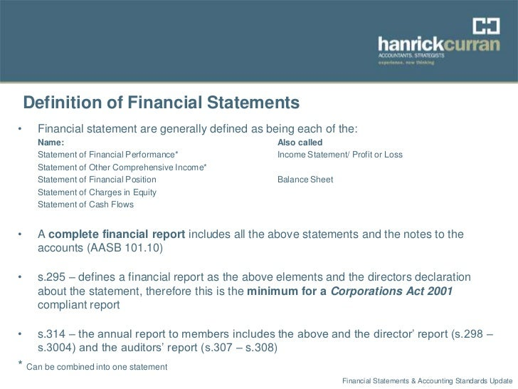 Financial Statements & Accounting Standards Update Sept 2012