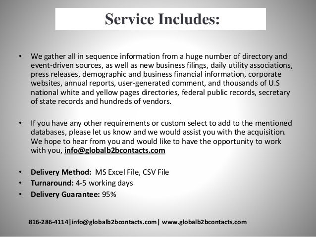 Service Includes: • We gather all in sequence information from a huge number of directory and event-driven sources, as wel...