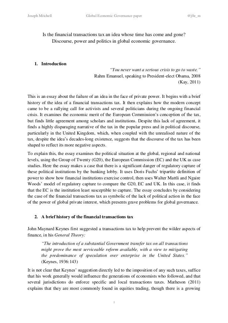 Joseph Mitchell                  Global Economic Governance paper                         @j0e_m         Is the financial ...