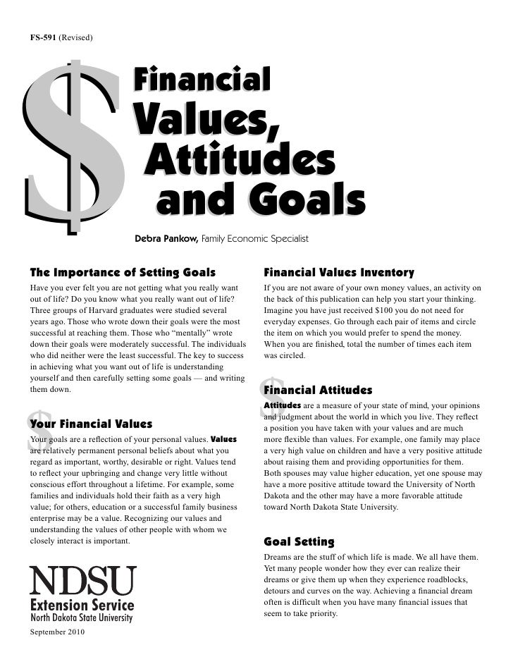 Financial Values Attitudes and Goals Worksheet – Financial Goals Worksheet