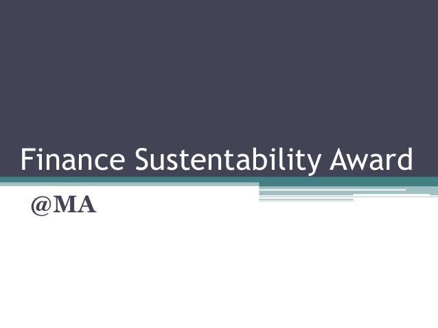 Finance Sustentability Award@MA