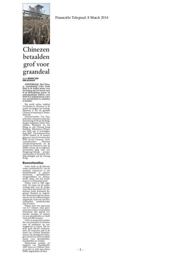 - 1 - Financiële Telegraaf, 8 March 2014