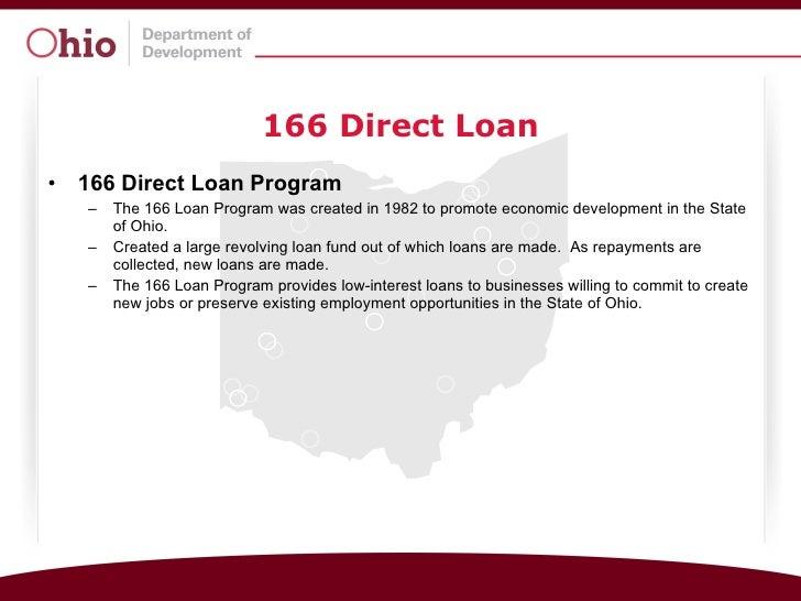 166 Direct Loan <ul><li>166 Direct Loan Program </li></ul><ul><ul><li>The 166 Loan Program was created in 1982 to promote ...