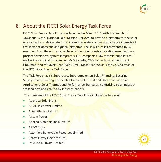 Ficci Solar Energy Task Force Report On Financing Solar Energy