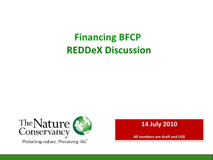 Financing BFCP REDDeX Discussion <br />14 July 2010      <br />All numbers are draft and US$ <br />