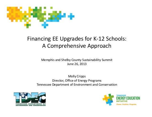 FinancingEEUpgradesforK‐12Schools: AComprehensiveApproach MemphisandShelbyCountySustainabilitySummit June26,...