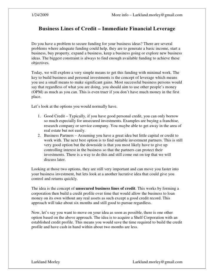 1/24/2009                                       More info – Larkland.morley@gmail.com       Business Lines of Credit – Imm...