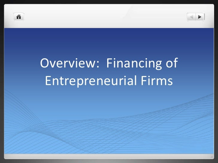 Overview:  Financing of Entrepreneurial Firms<br />