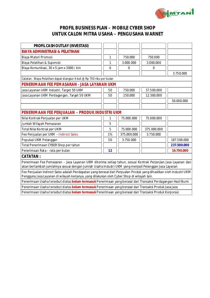 PROFIL BUSINESS PLAN – MOBILE CYBER SHOP                       UNTUK CALON MITRA USAHA – PENGUSAHA WARNET      PROFIL CASH...