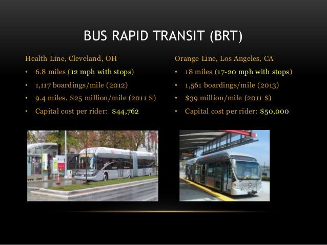 BUS RAPID TRANSIT (BRT) Health Line, Cleveland, OH • 6.8 miles (12 mph with stops) • 1,117 boardings/mile (2012) • 9.4 mil...