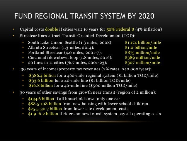 FUND REGIONAL TRANSIT SYSTEM BY 2020 • Capital costs double if cities wait 16 years for 50% Federal $ (4% inflation) • Str...