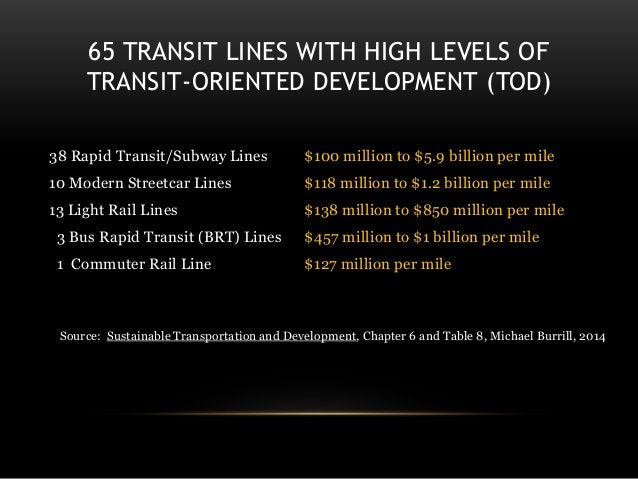 65 TRANSIT LINES WITH HIGH LEVELS OF TRANSIT-ORIENTED DEVELOPMENT (TOD) 38 Rapid Transit/Subway Lines $100 million to $5.9...