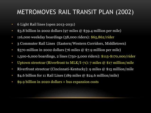 METROMOVES RAIL TRANSIT PLAN (2002) • 6 Light Rail lines (open 2013-2031) • $3.8 billion in 2002 dollars (97 miles @ $39.4...