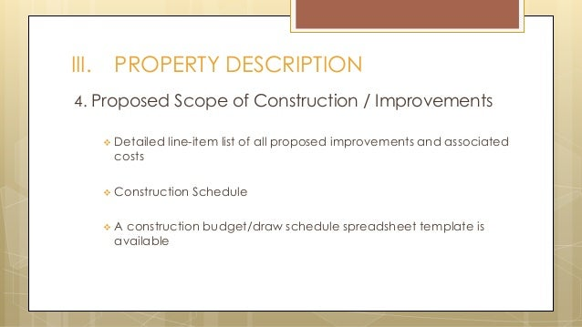 PROPERTY DESCRIPTION; 16. 4.  Loan Proposal Example
