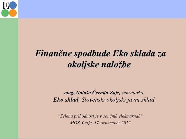 Finančne spodbude Eko sklada zaFinančne spodbude Eko sklada za okoljske naložbeokoljske naložbe mag. Nataša Černila Zajc, ...
