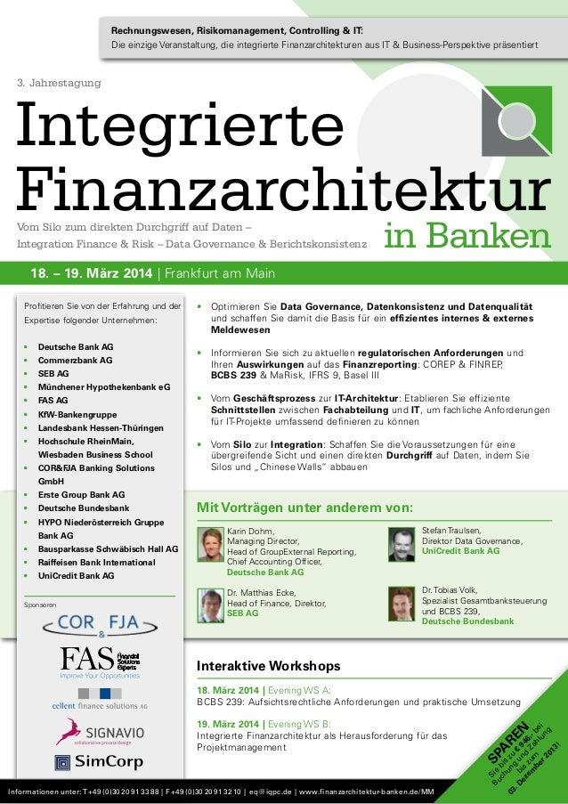 Rechnungswesen, Risikomanagement, Controlling & IT: Die einzige Veranstaltung, die integrierte Finanzarchitekturen aus IT ...
