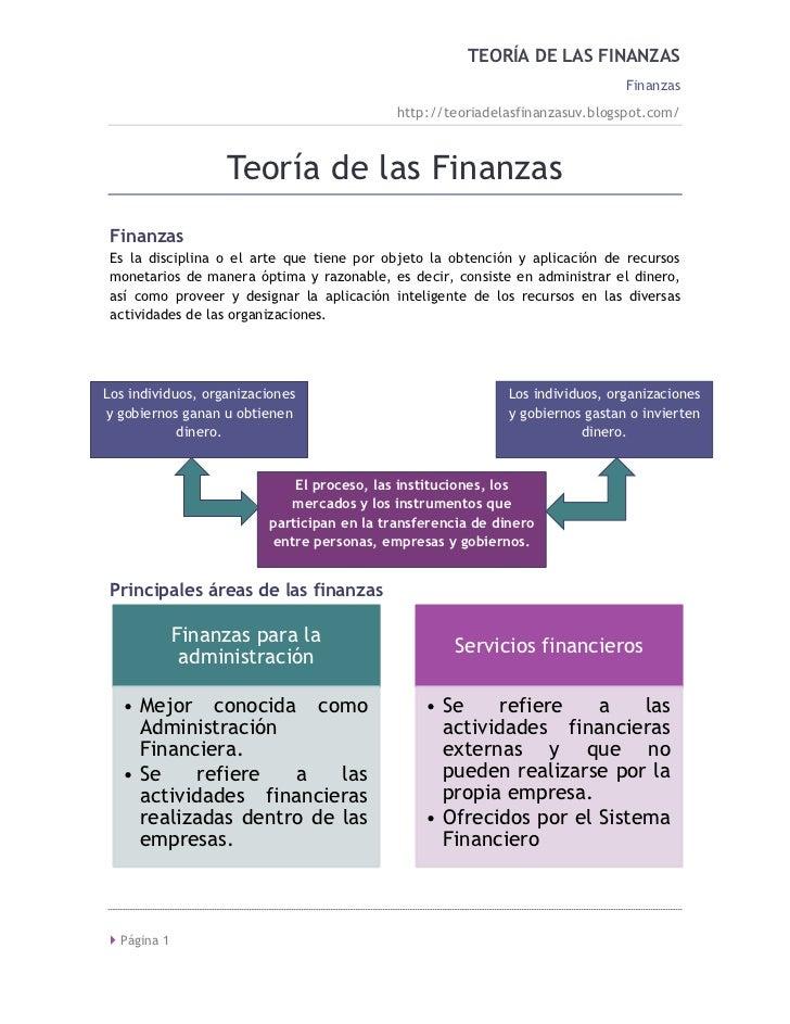 TEORÍA DE LAS FINANZAS                                                                               Finanzas             ...