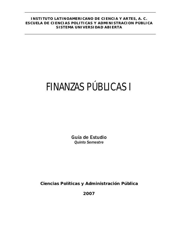 INSTITUTO LATINOAMERICANO DE CIENCIA Y ARTES, A. C. ESCUELA DE CIENCIAS POLITICAS Y ADMINISTRACION PÚBLICA              SI...